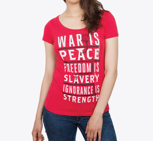 【Out of Print】 George Orwell / 1984 Scoop Neck Tee (Red) (Womens)