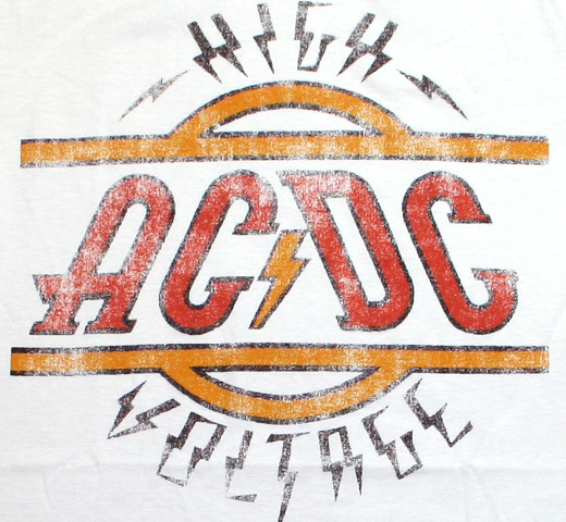 AC/DC / High Voltage Logo Tee (Vintage White)