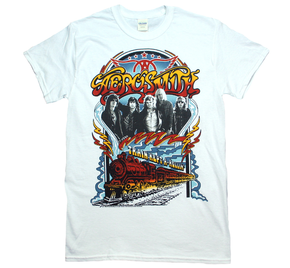 Aerosmith / Train Kept A-Rollin Tee (White)
