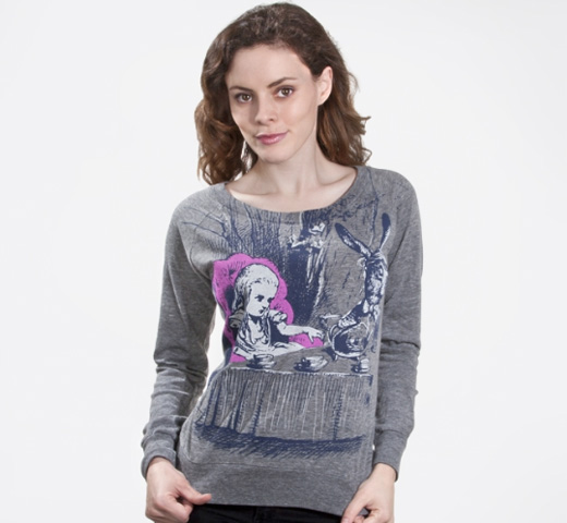 【Out of Print】 Lewis Carroll / Alice's Adventures in Wonderland Long Sleeved Tee (Grey) (Womens)