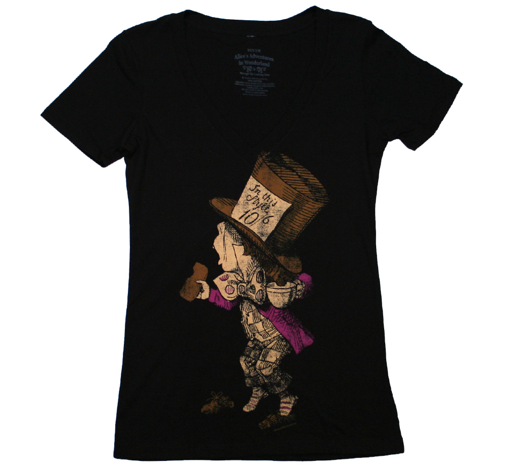 Alice's Adventures in Wonderland / The Hatter V-Neck Tee (Black) (Womens)