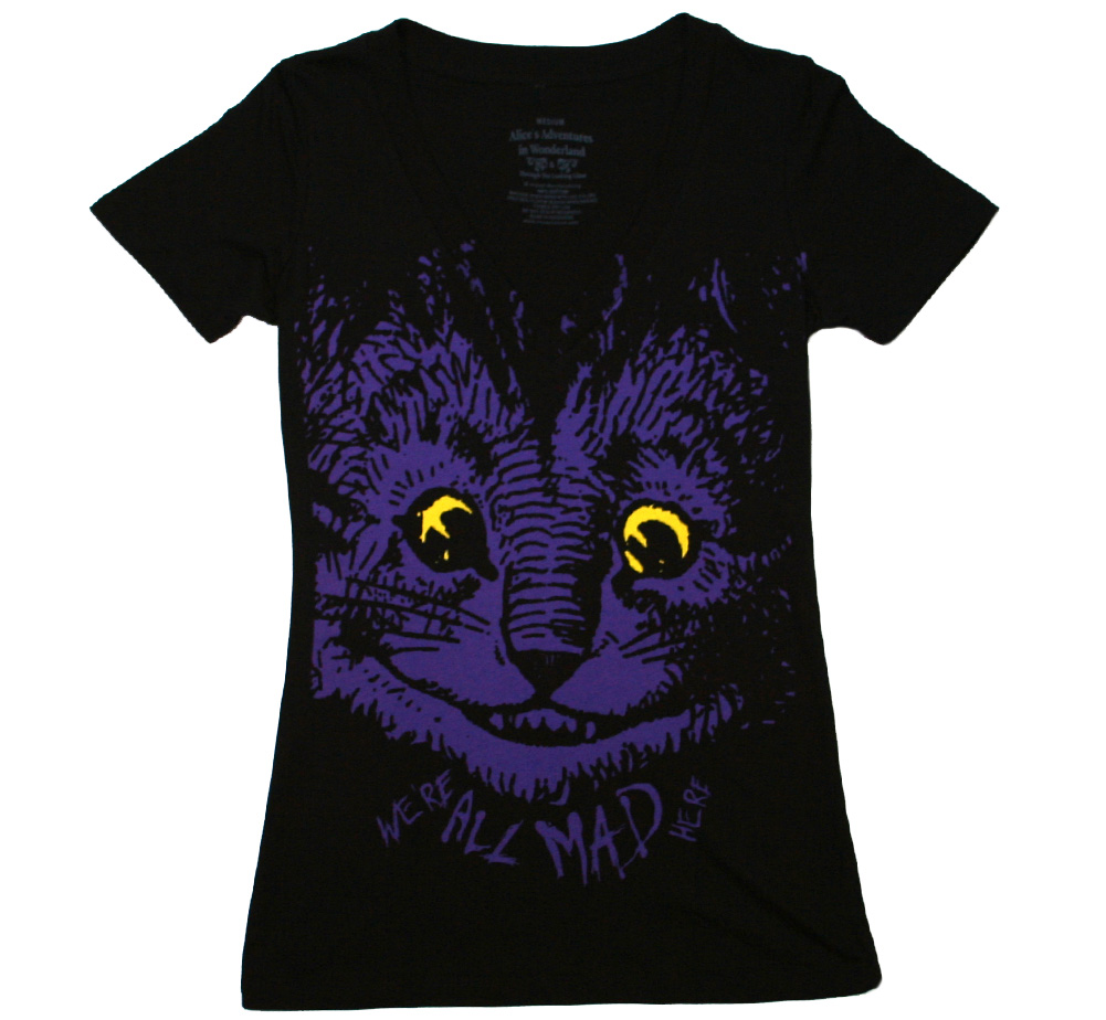 Alice's Adventures in Wonderland / Cheshire Cat V-Neck Tee (Black) (Womens)