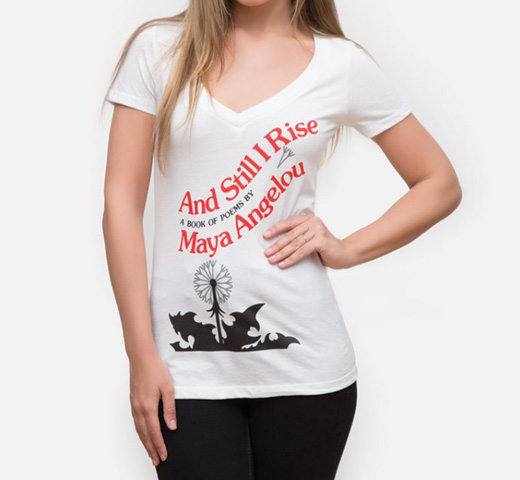 【Out of Print】 Maya Angelou / And Still I Rise V-Neck Tee (White) (Womens)