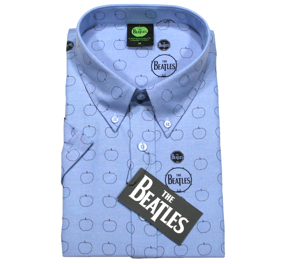 The Beatles / Drum and Apples Button Down Short Sleeve Shirt (Oxford Blue)