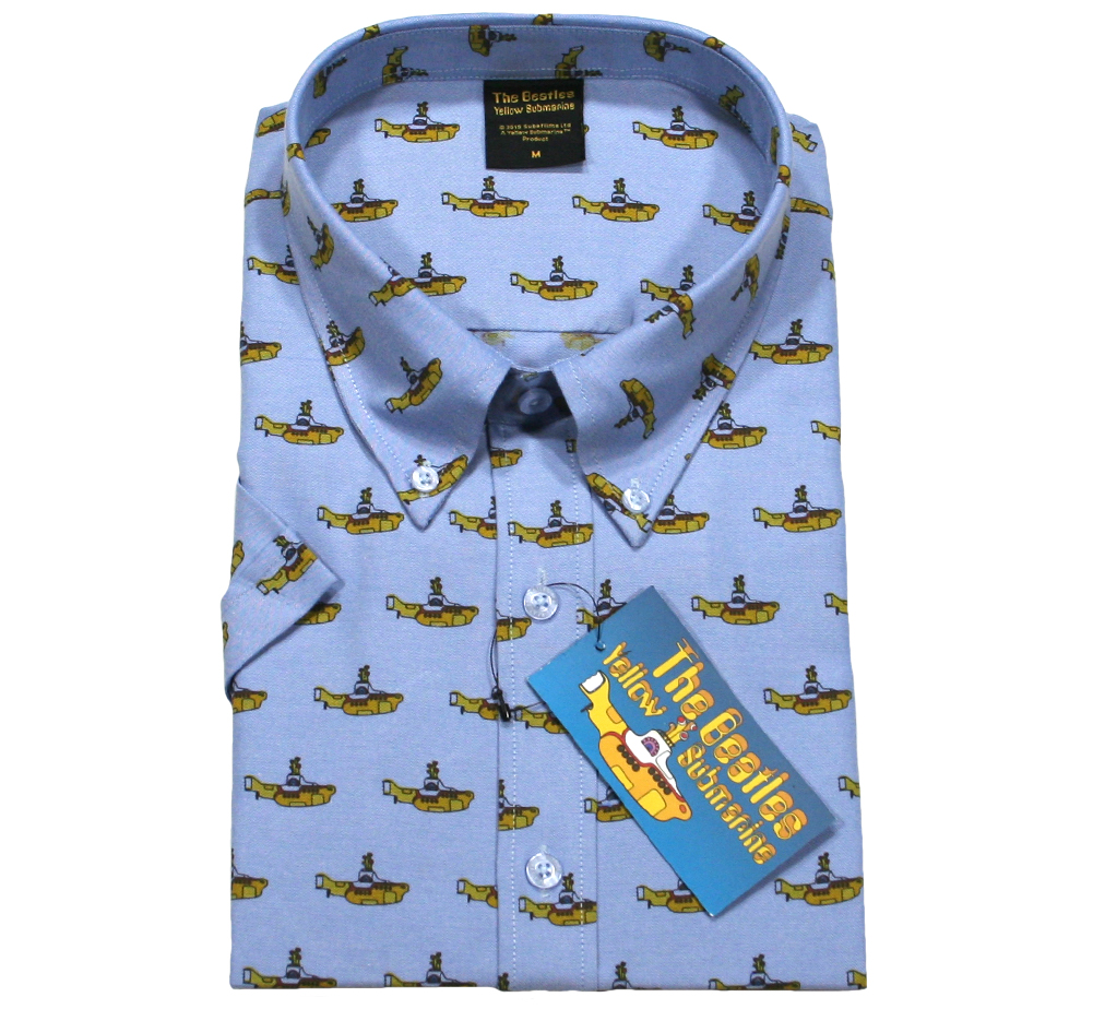 The Beatles / Yellow Submarine Button Down Short Sleeve Shirt (Oxford Blue)