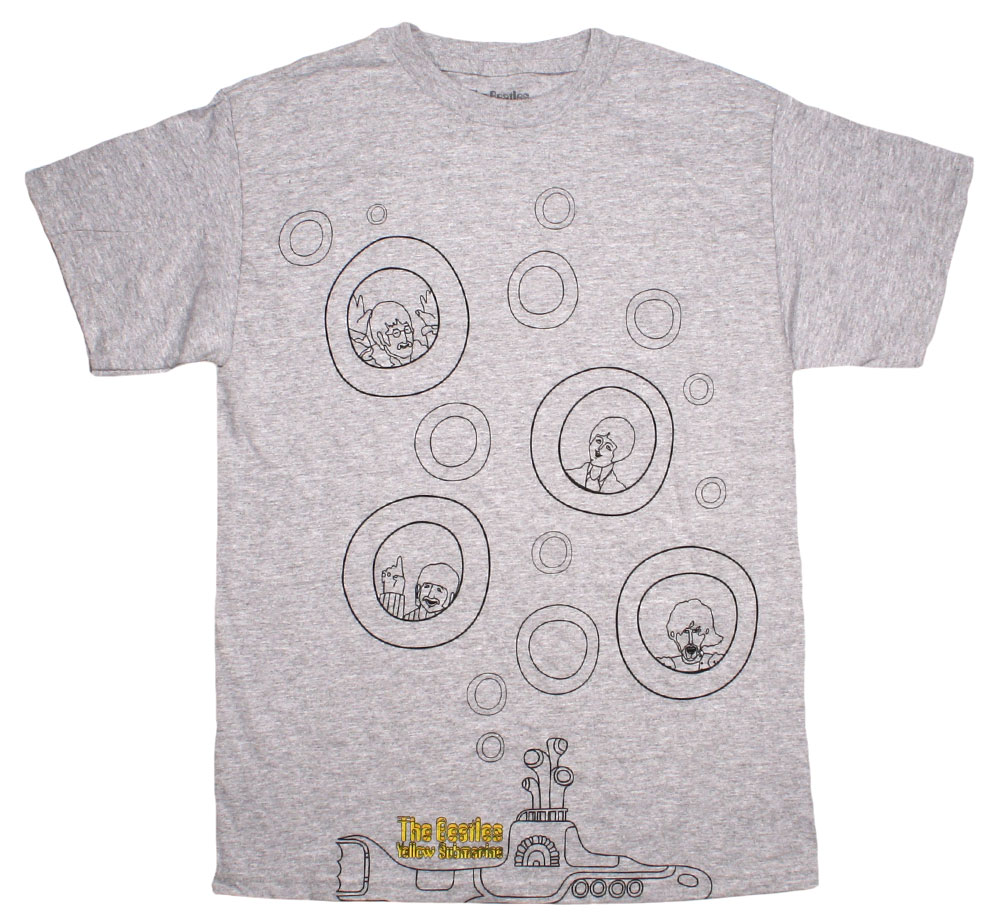 The Beatles / Yellow Submarine Bubbles Tee (Heather Grey)