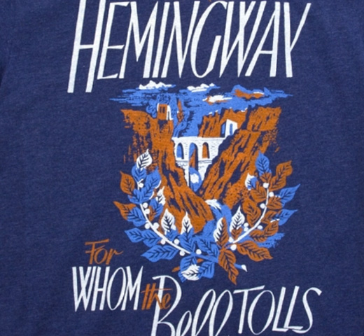 [Out of Print] Ernest Hemingway / For Whom the Bell Tolls Tee (Storm)