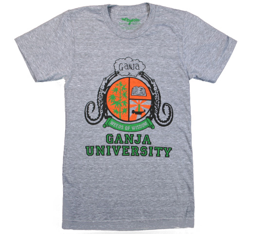 【Worn Free】 Bob Marley / Ganja University Tee (Heather Grey)