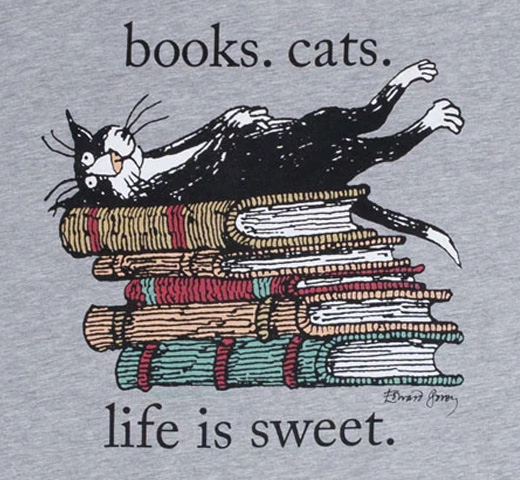 [Out of Print] Books. Cats. Life Is Sweet. Womens Relaxed Fit Tee (Heather Grey) (Edward Gorey illustration)