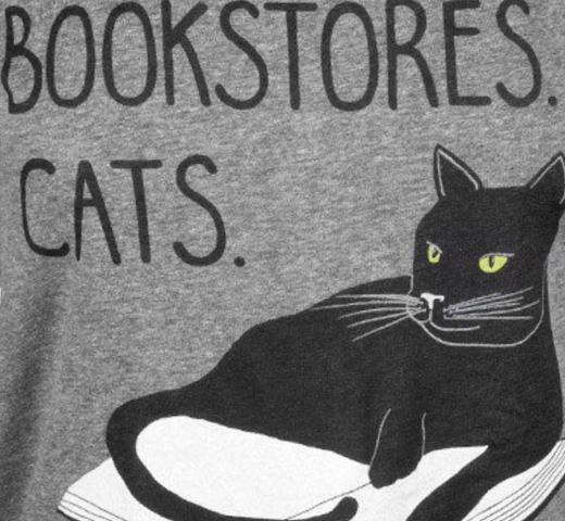 【Out of Print】 Bookstores. Cats. Life is Sweet. Tee (Heather Grey) (Womens)