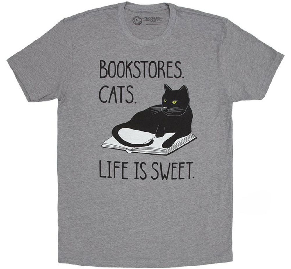 【Out of Print】 Bookstores. Cats. Life is Sweet. Tee (Heather Grey)