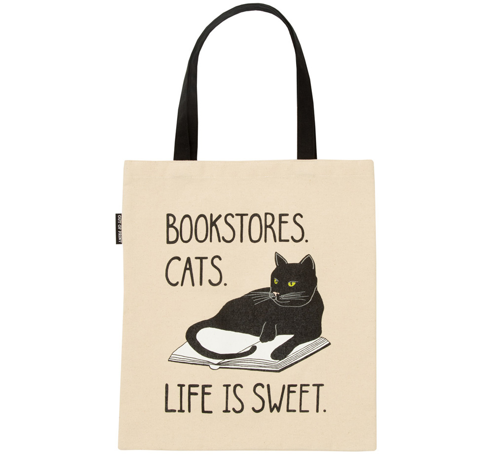 [Out of Print] Bookstores. Cats. Life is Sweet. Tote Bag