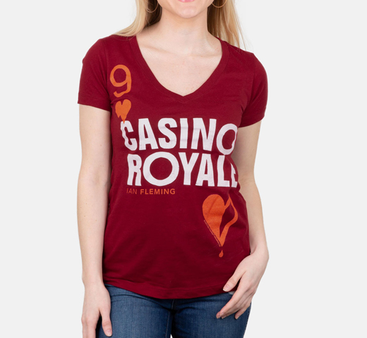 [Out of Print] Ian Fleming / Casino Royale V-Neck Tee (Cardinal Red) (Womens)