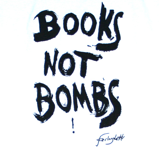 【City Lights Bookstore】 Lawrence Ferlinghetti / BOOKS NOT BOMBS ! Tee (White)