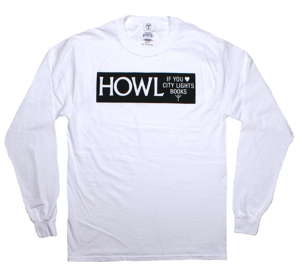 [City Lights Bookstore] HOWL IF YOU ♥ CITY LIGHTS BOOKS Long Sleeved Tee (White)