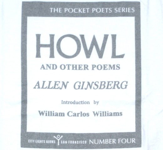 【City Lights Bookstore】 Allen Ginsberg / Howl and Other Poems Tee (White/Silver)