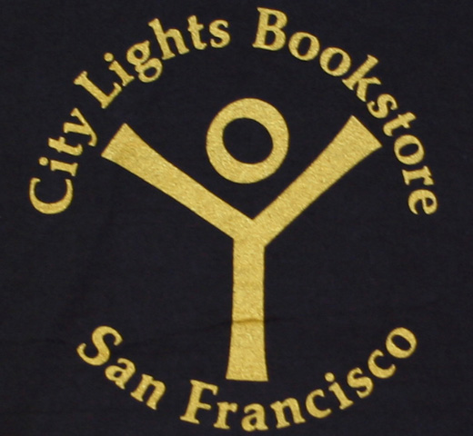 【City Lights Bookstore】 Logo Tee (Dyed Black / Gold)