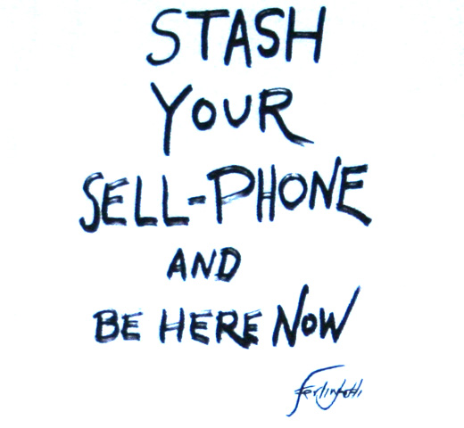 【City Lights Bookstore】 Lawrence Ferlinghetti / STASH YOUR SELL-PHONE Tee (White)