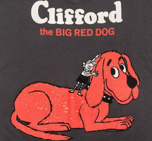 【Out of Print】 Norman Bridwell / Clifford the Big Red Dog V-Neck Tee (Dark Grey) (Womens)