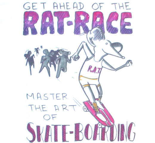 Daniel Johnston / Master the art of Skate-Boarding Tee (White)