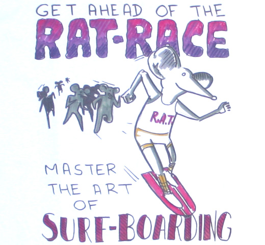 Daniel Johnston / Master the art of Surf-Boarding Tee (White)