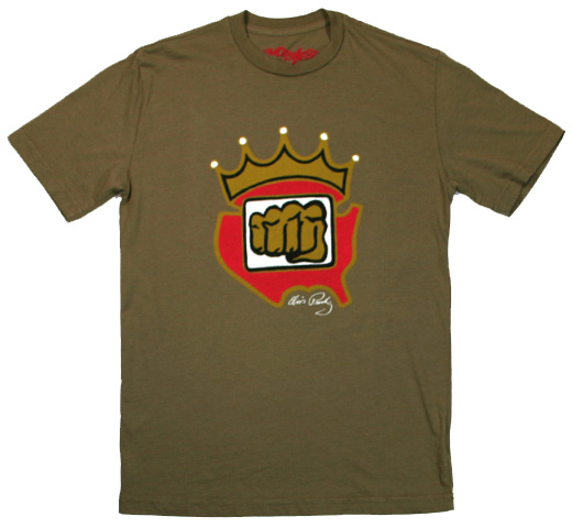 【Worn Free】 Elvis Presley / King Fist Tee (Olive)