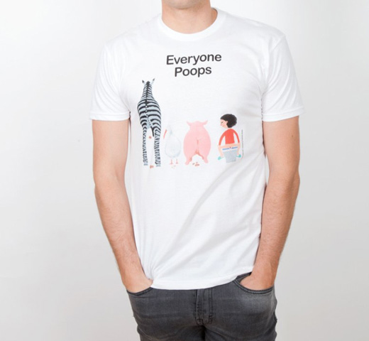 【Out of Print】 五味太郎 / Everyone Poops Tee (White)