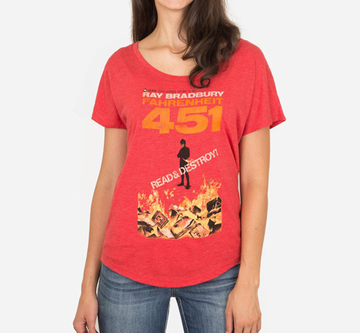 [Out of Print] Ray Bradbury / Fahrenheit 451 Relaxed Fit Tee (Womens) (Red)