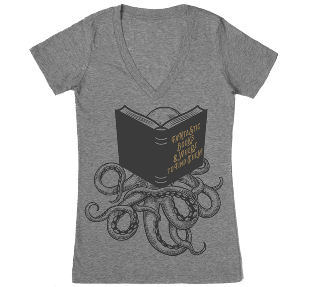 【Out of Print】 FANTASTIC BOOKS & WHERE TO FIND THEM V-Neck Tee (Heather Grey) (Womens)