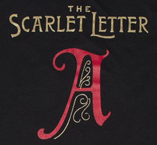 【Out of Print】 Nathaniel Hawthorne / The Scarlet Letter V-Neck Tee [Gilded] (Black) (Womens)