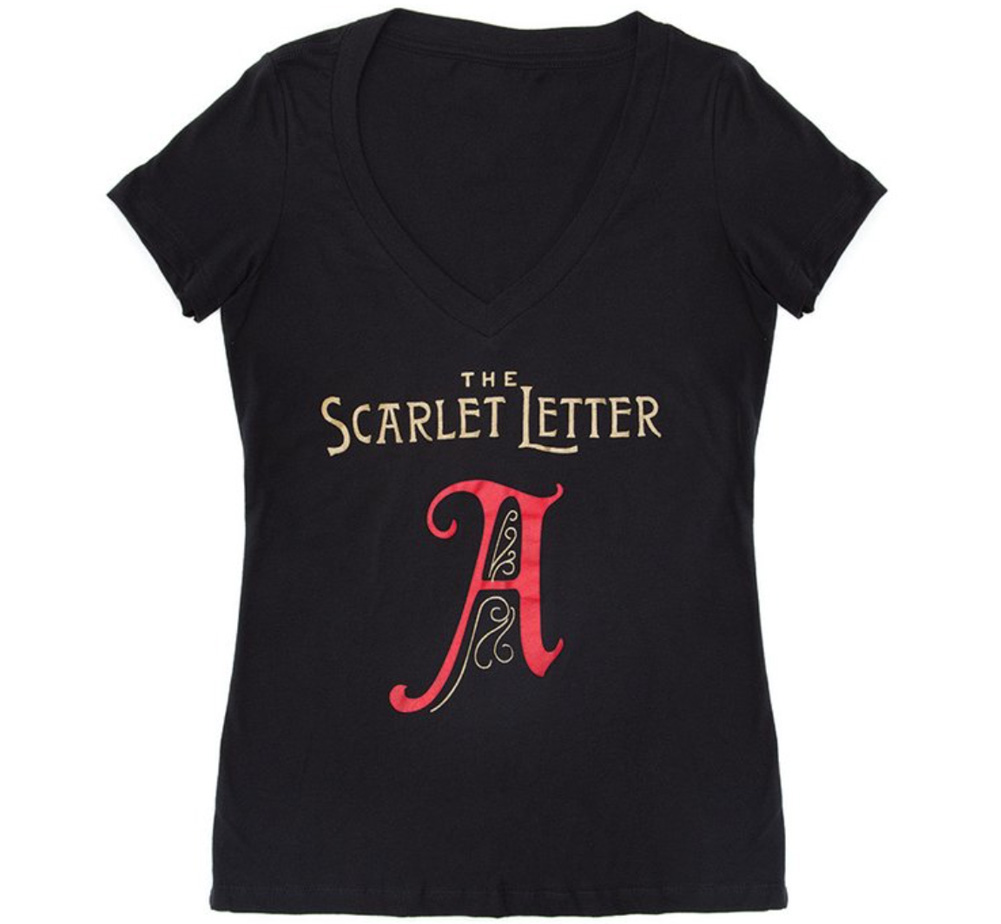 [Out of Print] Nathaniel Hawthorne / The Scarlet Letter V-Neck Tee [Gilded] (Black) (Womens)