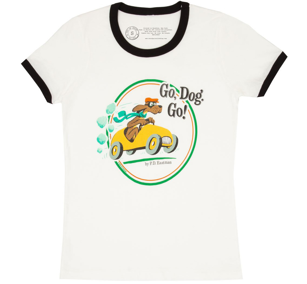 [Out of Print] P.D. Eastman / Go, Dog. Go! Ringer Tee (White/Black) (Womens)