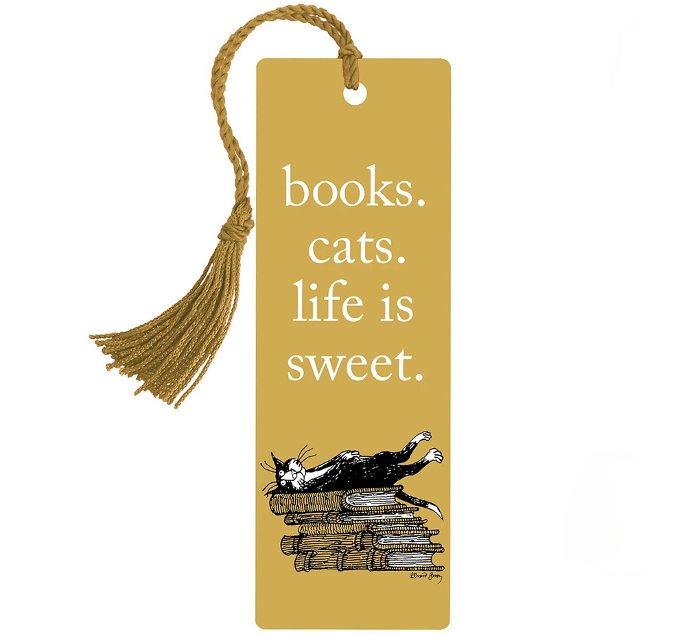 [Out of Print] Books. Cats. Life Is Sweet. Bookmark (Edward Gorey illustration)