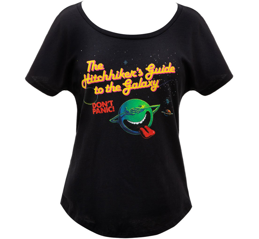 [Out of Print] Douglas Adams / The Hitchhiker's Guide to the Galaxy Relaxed Fit Tee (Black) (Womens)