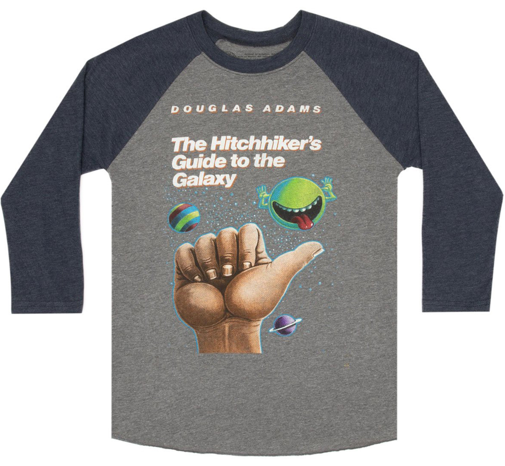 [Out of Print] Douglas Adams / The Hitchhiker's Guide to the Galaxy Raglan Tee (Heather Grey/Navy Blue)