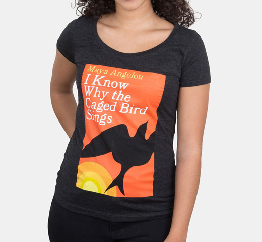 [Out of Print] Maya Angelou / I Know Why the Caged Bird Sings Scoop Tee (Black) (Womens)