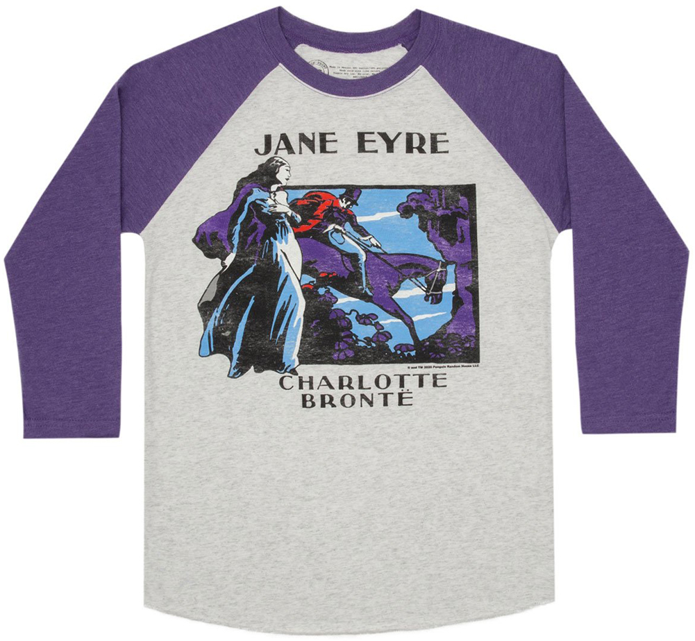 [Out of Print] Charlotte Brontë / Jane Eyre Raglan Tee (Heather White/Purple)
