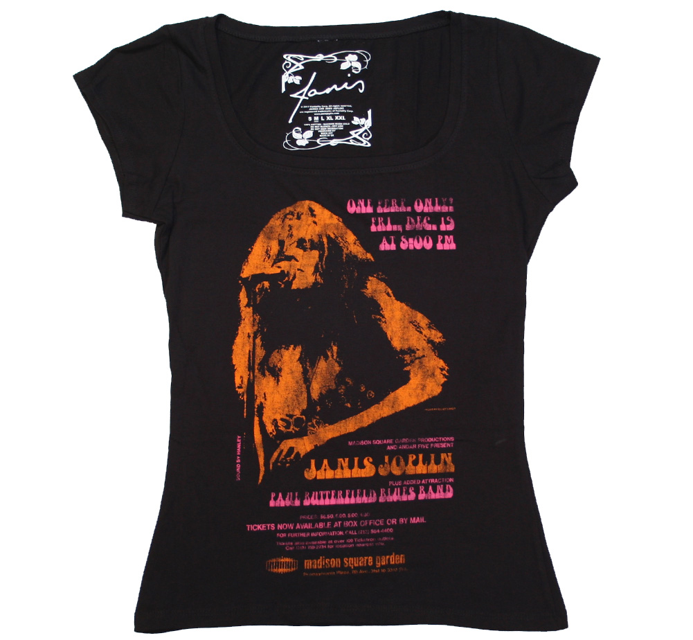 Janis Joplin / Madison Square Garden Scoop Neck Tee (Black) (Womens)
