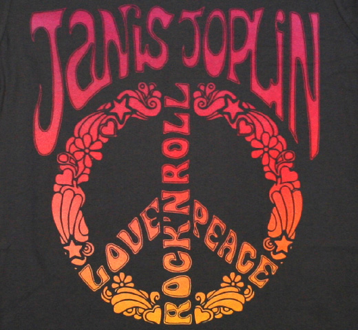 Janis Joplin / LOVE 'N PEACE, ROCK 'N ROLL Tee (Heavy Metal Grey) (Womens)