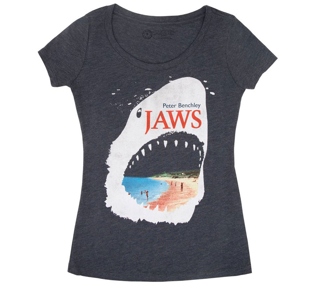 [Out of Print] Peter Benchley / Jaws Scoop Neck Tee (Vintage Navy) (Womens)