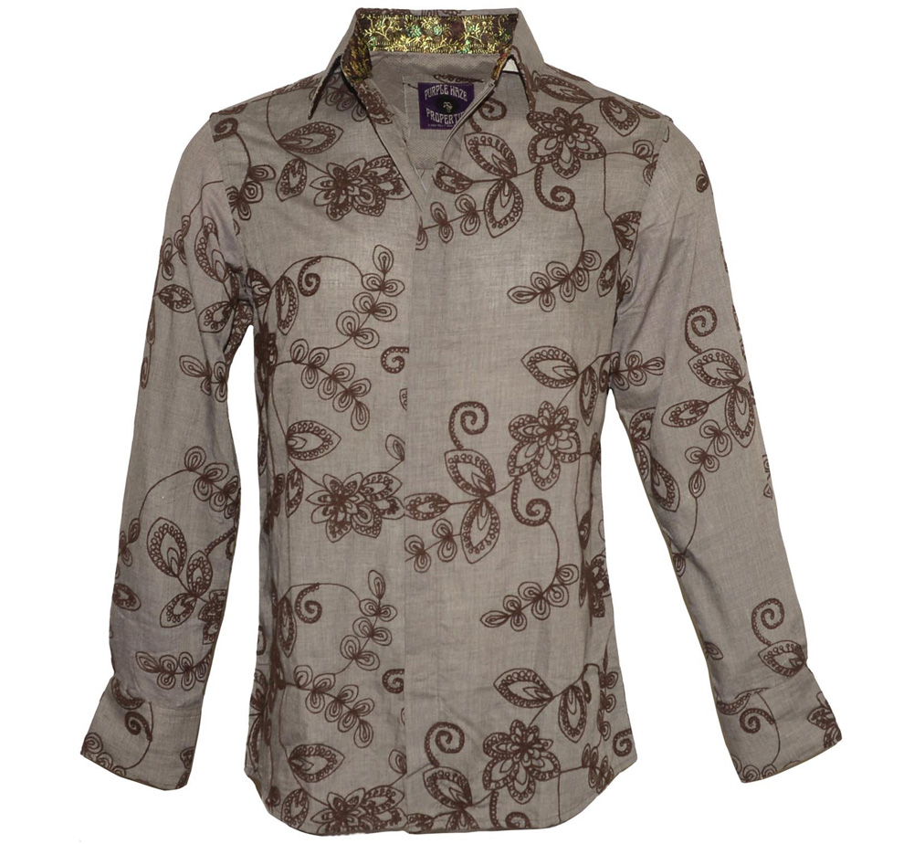 [JIMI HENDRIX COLLECTION] 3rd Stone From the Sun Dress Shirt (Brown)