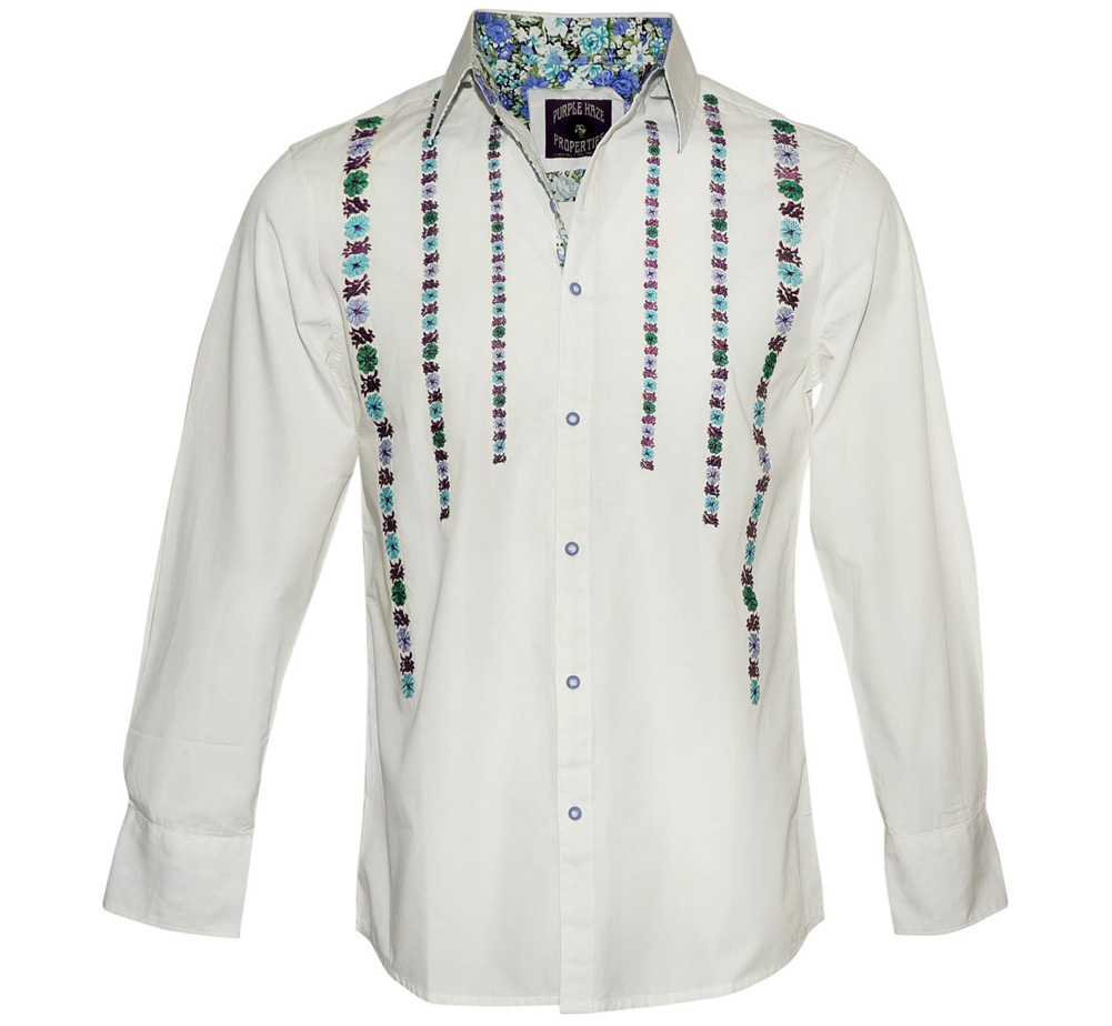[JIMI HENDRIX COLLECTION] Purple Haze Dress Shirt (White)