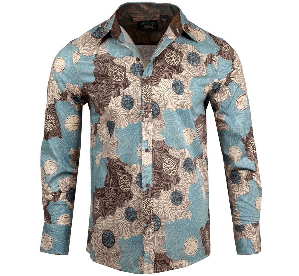 [JIMI HENDRIX COLLECTION] Manic Depression Dress Shirt (M-Blue) [RRJH1184-M-BLUE]