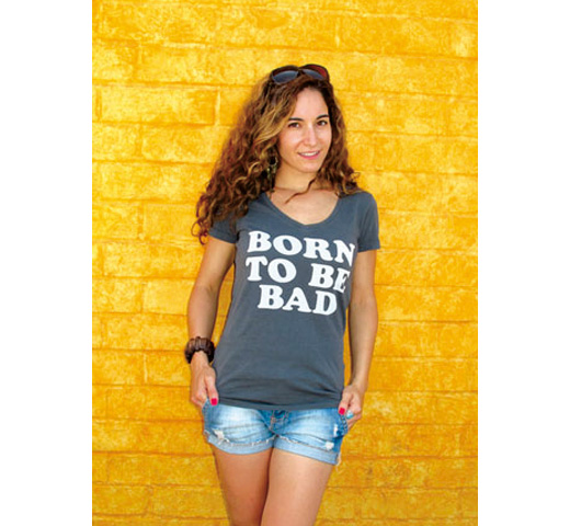 【Worn Free】 Joan Jett / Born to be Bad V-Neck Tee (Black) (Womens)