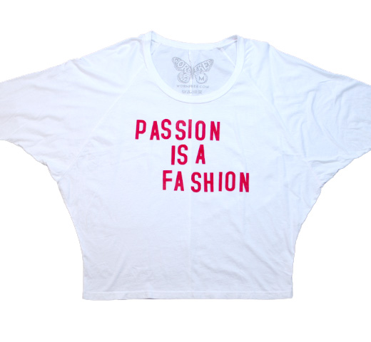 【Worn Free】 Joe Strummer / Passion is a Fassion Oversized Roadie Tee (White) (Womens)