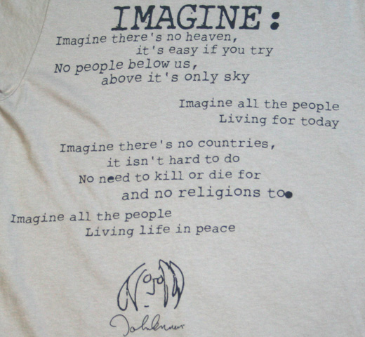 【English Laundry】 John Lennon / Imagine Lyric Tee (Silver)