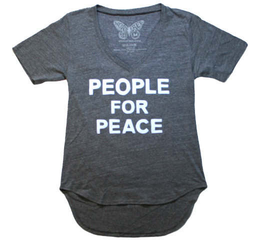 【Worn Free】 John Lennon / People For Peace V-Neck Tee (Heather Grey)