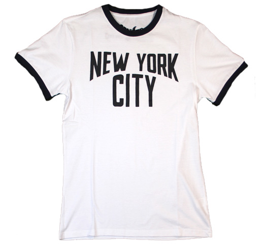 【Worn Free】 John Lennon / New York City Tee (White / Navy Ringer)