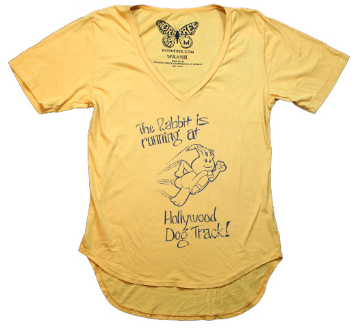 【Worn Free】 Johnny Ramone / Hollywood Rabbit V-Neck Tee (Mustard) (Womens)