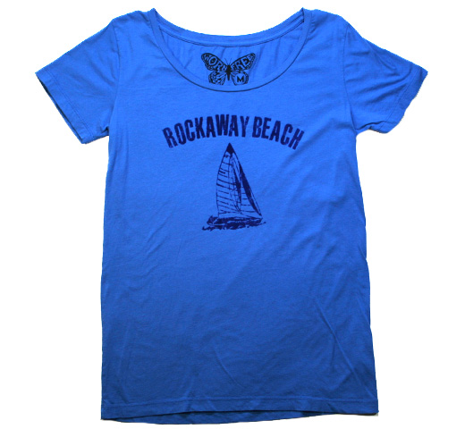 【Worn Free】 Johnny Ramone / Rockaway Beach Scoop Neck Tee (Royal Blue)